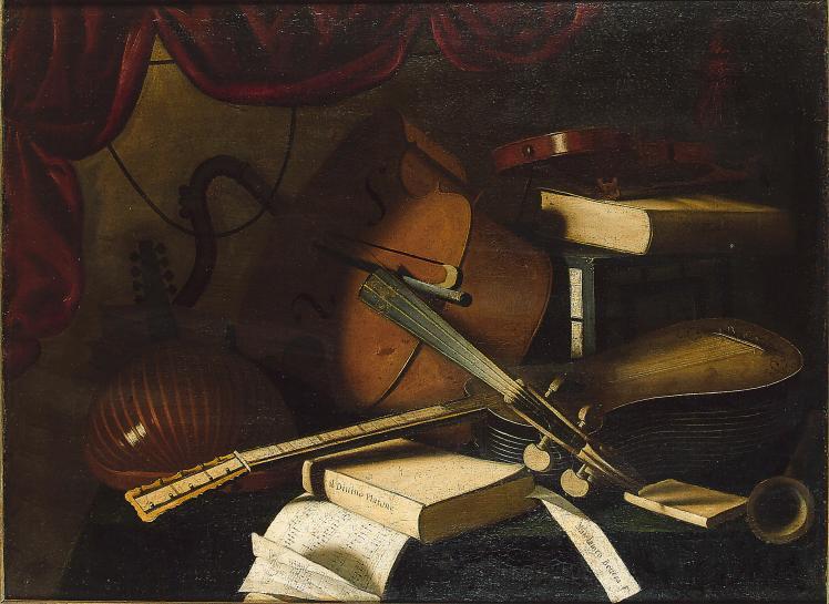 Studio_of_Bartolomeo_Bettera_-_A_lute,_cello,_violin,_guitar,_musical_manuscript_and_books_on_a_draped_table